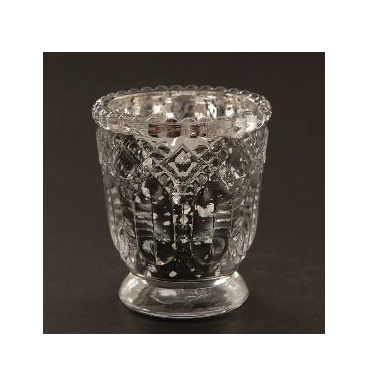 silver embossed mercury tealight to hire