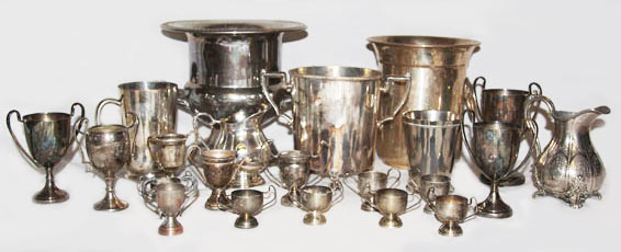 metal odds and sods vintage baby trophies to rent