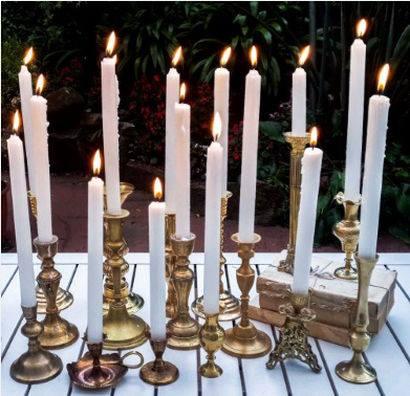 gold brass candlesticks to hire
